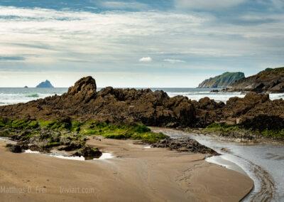 Strand mit Blick auf die Skelligs